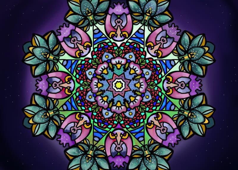 Wszech?wiat w mandala z kwiatami i insektem ilustracji