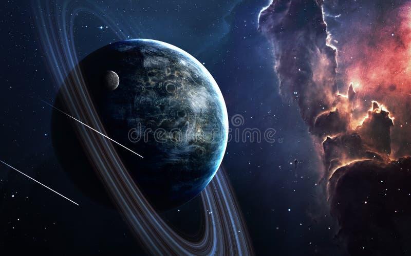 Wszechrzecza scena z planetami, gwiazdami i galaxies w kosmosie pokazuje piękno eksploracja przestrzeni kosmicznej, elementy obrazy stock