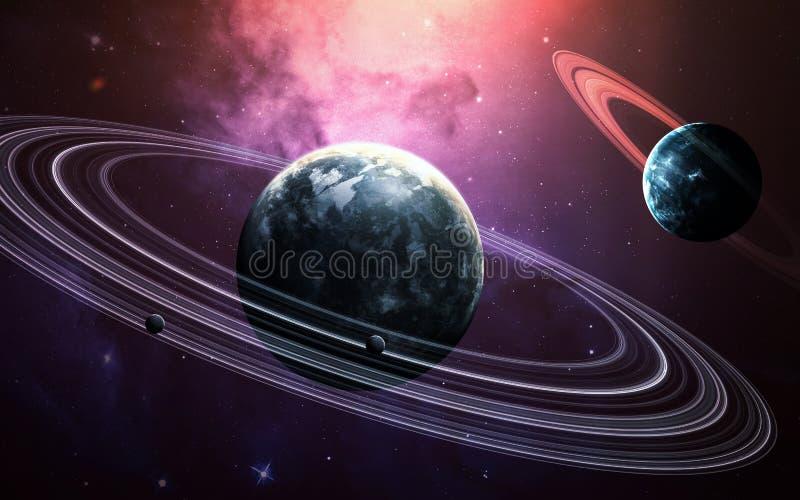 Wszechrzecza scena z planetami, gwiazdami i galaxies w kosmosie pokazuje piękno eksploracja przestrzeni kosmicznej, elementy ilustracji