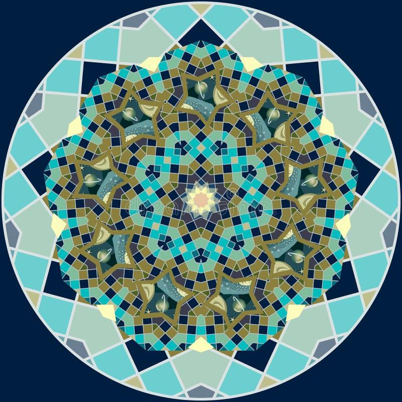 Wszechrzeczy round wzór Quasicrystal w formie kwiatu mandala z słońcem, gwiazdami, księżyc i planetami, Druk dla stropować wektor ilustracji