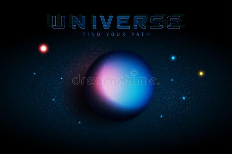 Wszechrzeczy Wektorowy nieskończonej przestrzeni tło Błyskać gwiazdy mgławica Abstrakcjonistyczny futurystyczny hyperspace wszech royalty ilustracja