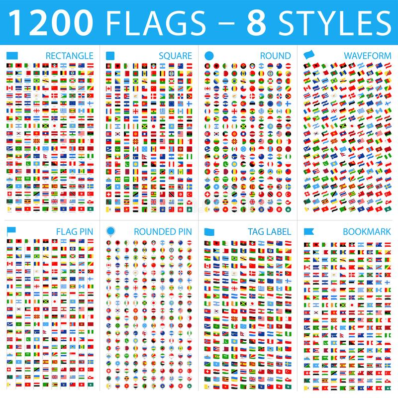 Wszystkie świat flagi Duży set różni style Wektorowe płaskie ikony royalty ilustracja