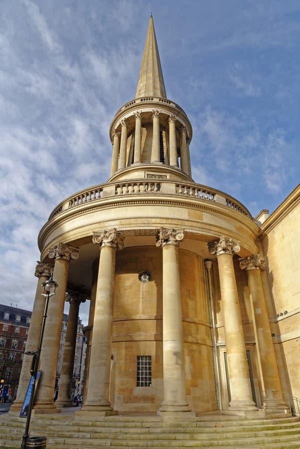 Wszystkie dusza kościół, Langham miejsce, Londyn zdjęcie royalty free