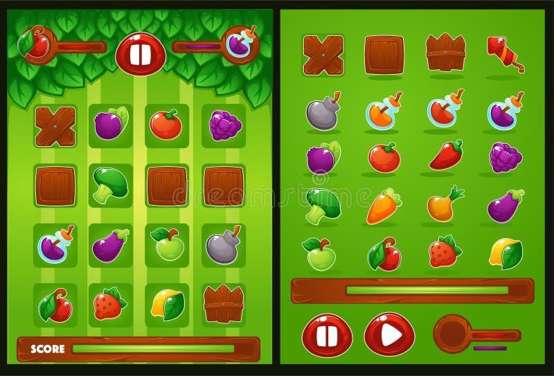 Wszystkie elementy dla oyur dopasowywają 3 grę, gospodarstwo rolne, warzywa, owoc, byli royalty ilustracja