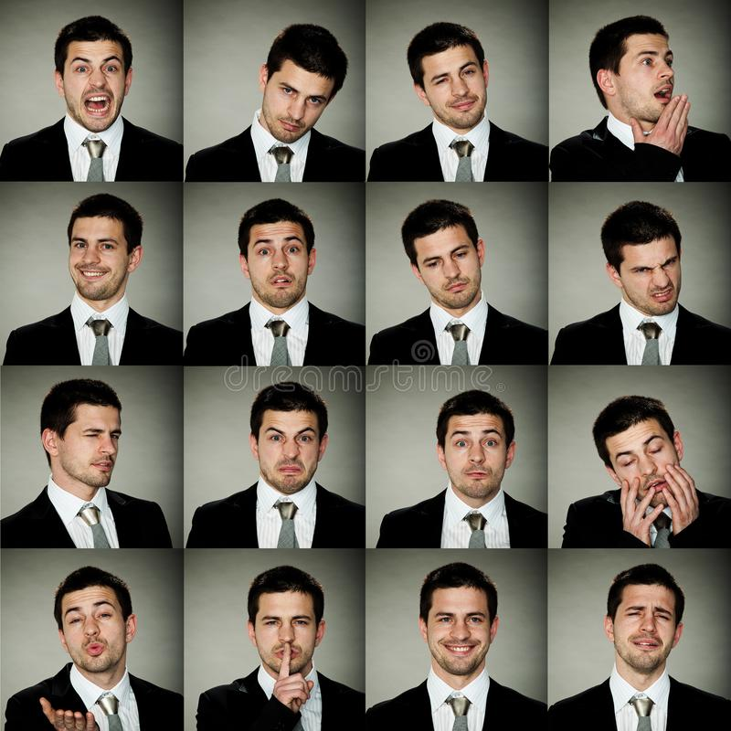 Wszystkie emocje, biznesowy mężczyzna w wiele opcjach emocje zdjęcie royalty free