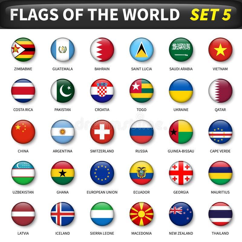 Wszystkie flaga świat ustawiają 5 Okrąg i wypukły projekt ilustracji