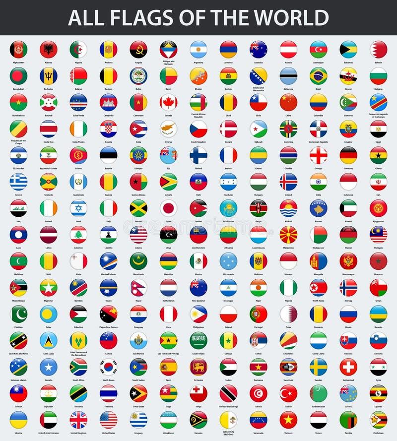 Wszystkie flaga świat w abecadłowym rozkazie Round, okręgu glansowany styl ilustracja wektor