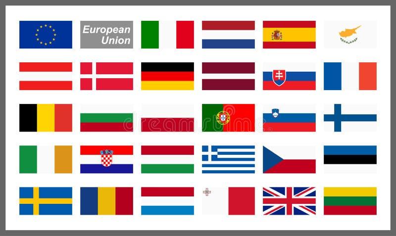 wszystkie kraj flaga Europejski zjednoczenie ilustracji