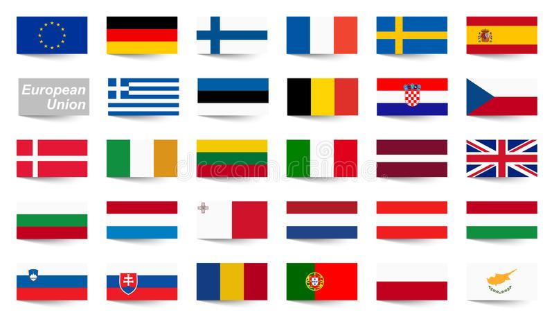 wszystkie kraj flaga Europejski zjednoczenie ilustracja wektor