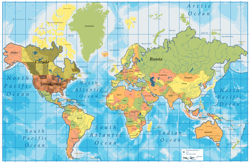 wszystkie kraje wyszczególniająca mapa wymienia świat royalty ilustracja
