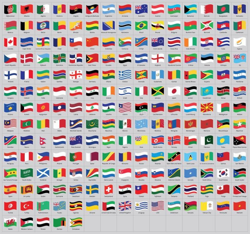 Wszystkie krajowy światowy falowanie zaznacza z imionami - wysokiej jakości wektor flaga odizolowywająca na szarym tle royalty ilustracja