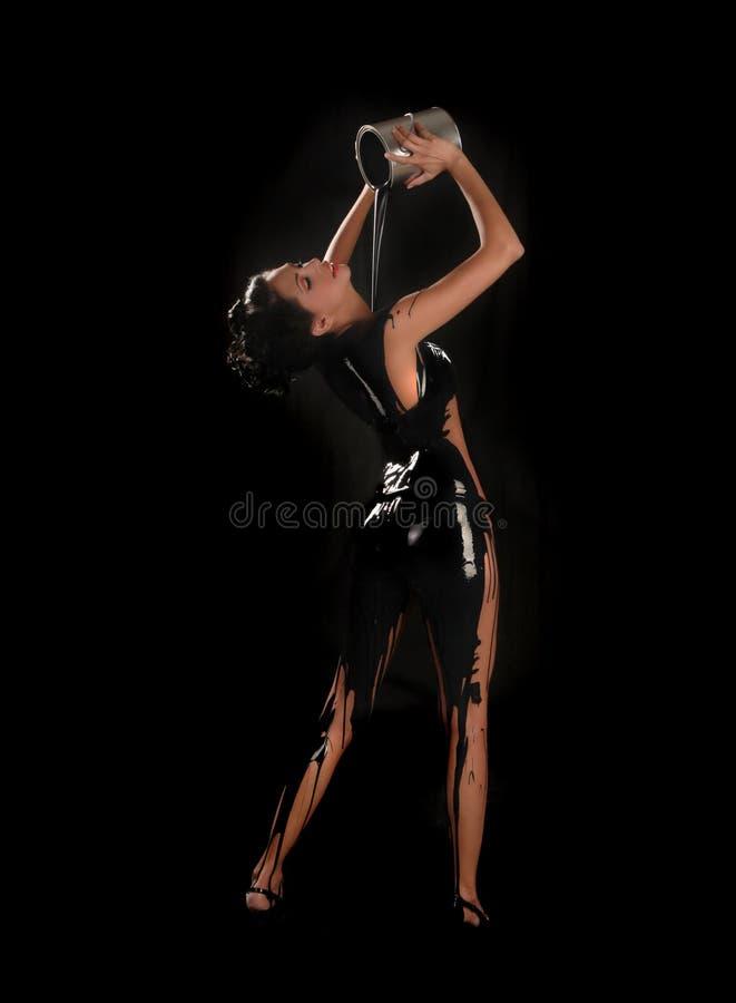 wszystkie piękny ciało ona nad farby dolewania kobietą obrazy stock
