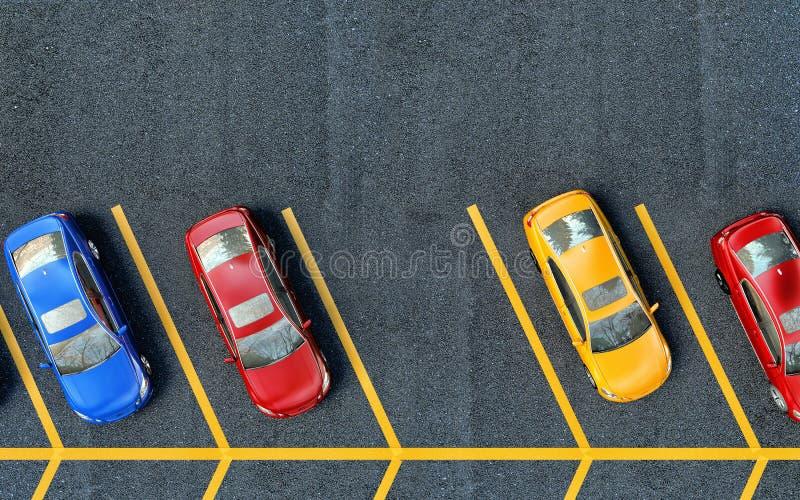 wszystkie samochody zajmujący parkujący target3682_1_ miejsca Jeden miejsce jest bezpłatny royalty ilustracja