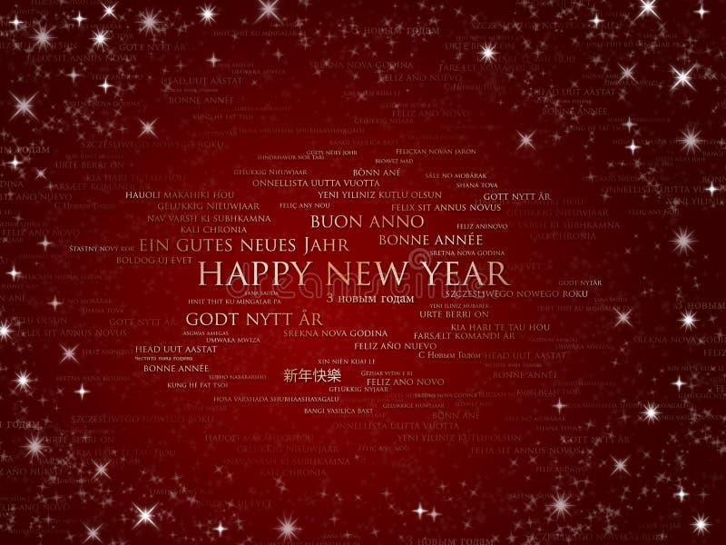 wszystkie szczęśliwych języków nowy czerwony iskrzasty rok royalty ilustracja