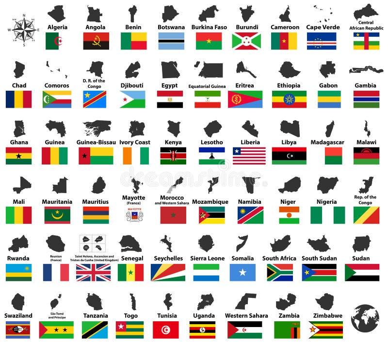 Wszystkie wektorowe wysokie szczegółowe flaga kraje afrykańscy i mapy układali w abecadłowym rozkazie