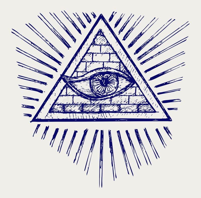 Wszystkie widzii oko ilustracji