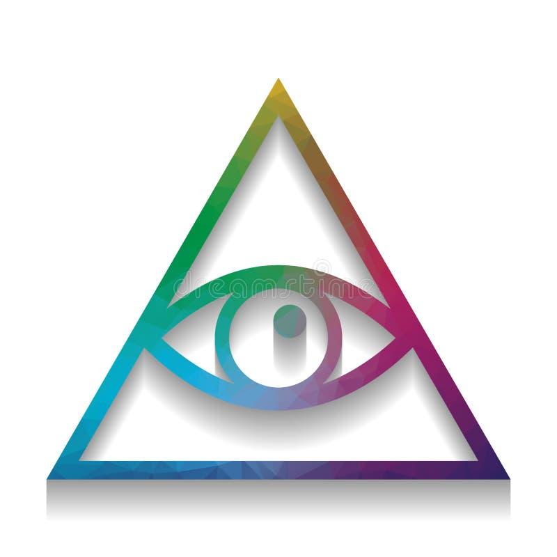 Wszystkie widzii oko ostrosłupa symbol Farmazon i sprawy duchowe wektor royalty ilustracja