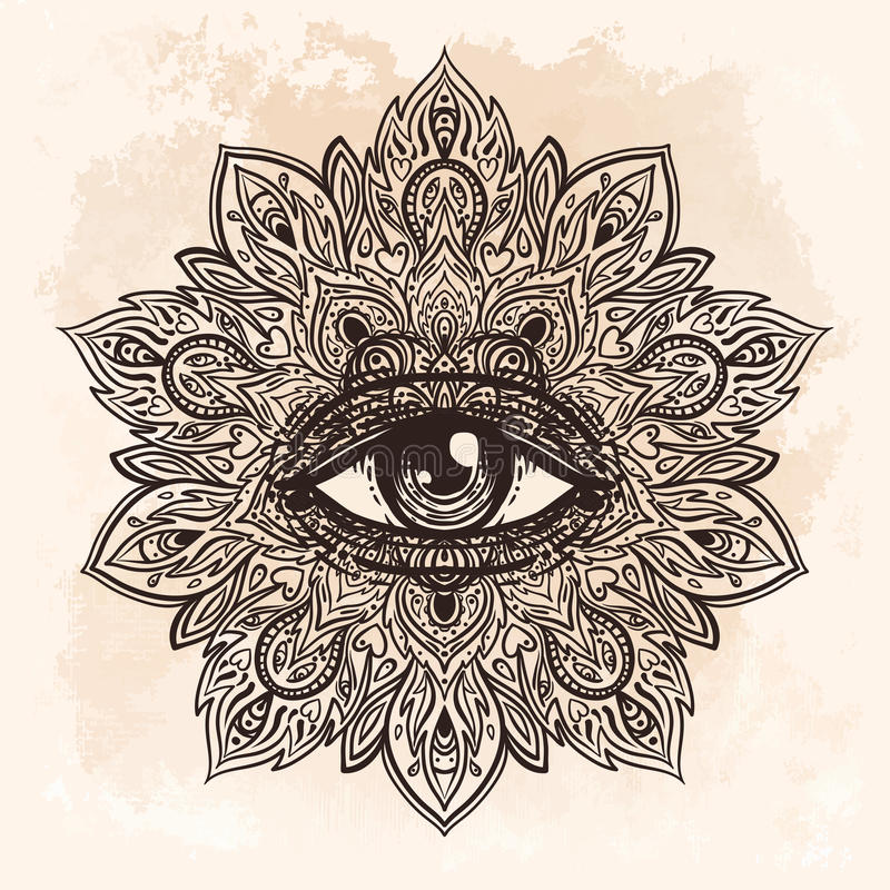 Wszystkie widzii oko w ozdobnym round mandala wzorze Mistyczka, alchemia, royalty ilustracja