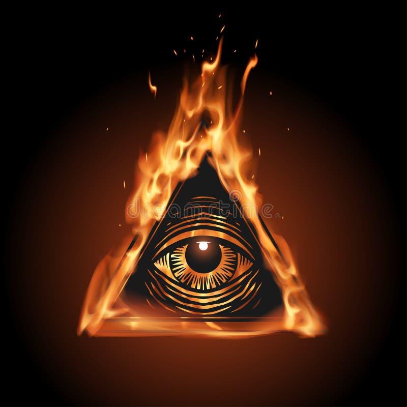 Wszystkie widzii oko w płomieniu royalty ilustracja