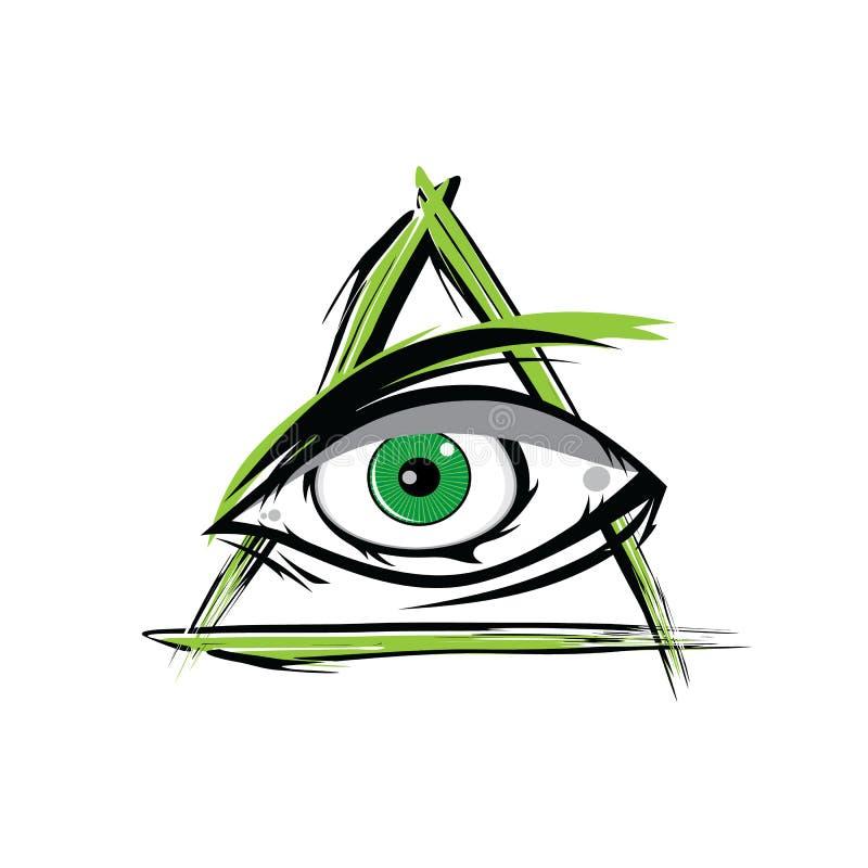 Wszystkie Widzii oko - Zielony Firey płomienia Illuminati masonerii wektor royalty ilustracja