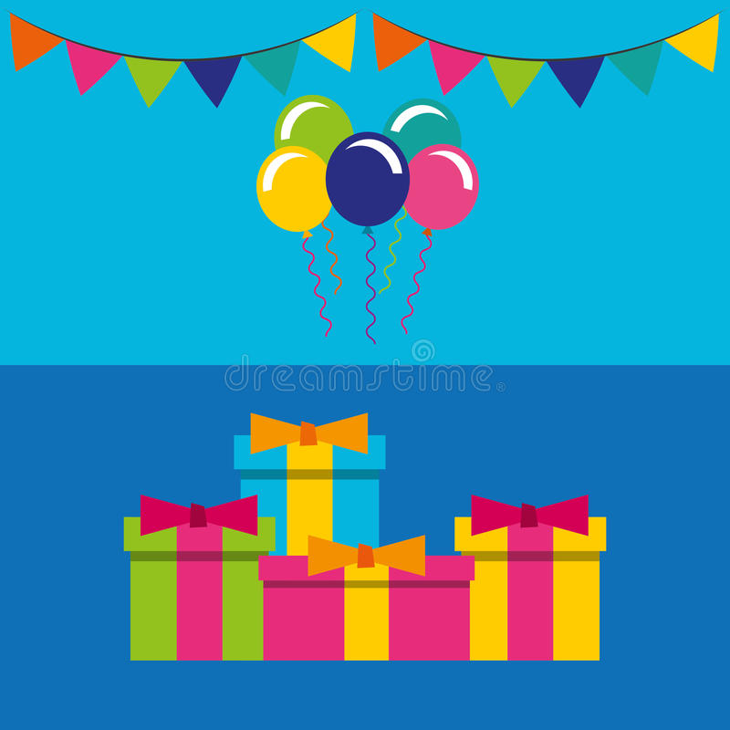 Wszystkiego najlepszego z okazji urodzin świętowania karta z prezentami ilustracji