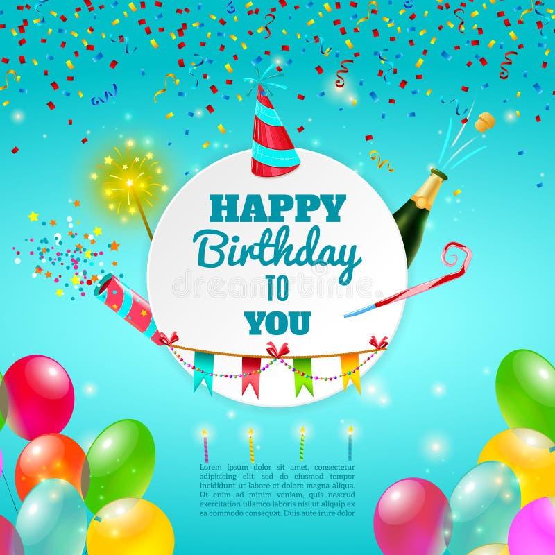 Wszystkiego najlepszego z okazji urodzin świętowania tła plakat ilustracji