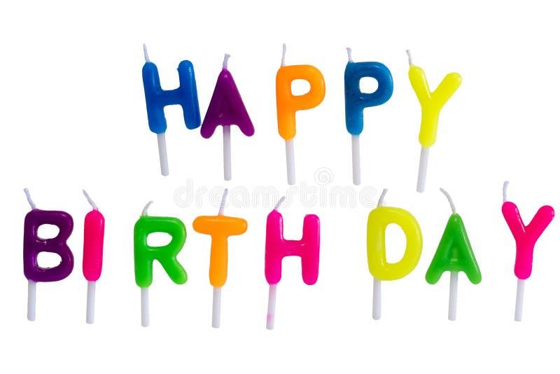 Wszystkiego najlepszego z okazji urodzin świeczki odizolowywać na białym tle fotografia royalty free