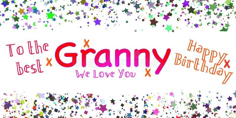 Wszystkiego Najlepszego Z Okazji Urodzin babci karta ilustracja wektor