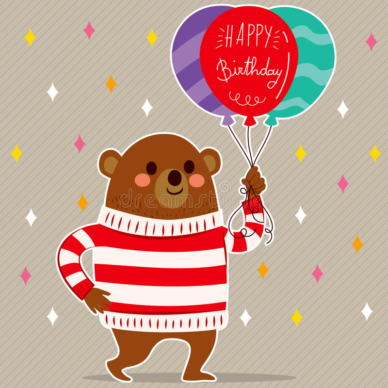 Wszystkiego Najlepszego Z Okazji Urodzin balonów niedźwiedź royalty ilustracja