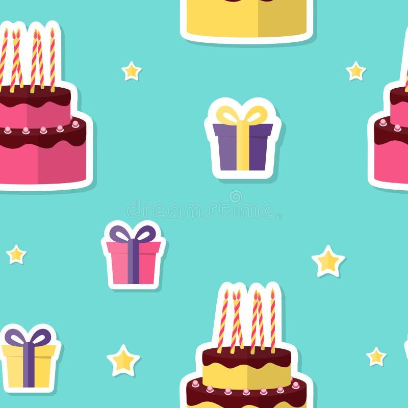 Wszystkiego Najlepszego Z Okazji Urodzin Bezszwowy Deseniowy tło z torta i prezenta pudełkiem r?wnie? zwr?ci? corel ilustracji we royalty ilustracja