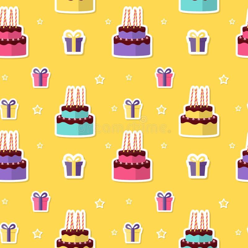 Wszystkiego Najlepszego Z Okazji Urodzin Bezszwowy Deseniowy tło z torta i prezenta pudełkiem r?wnie? zwr?ci? corel ilustracji we ilustracja wektor