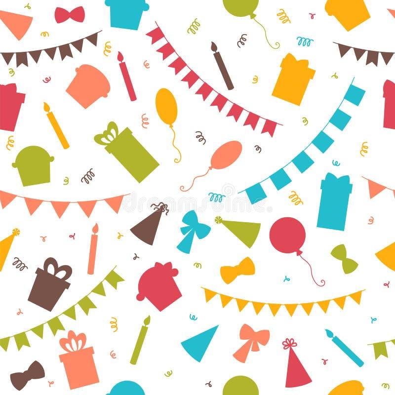 Wszystkiego Najlepszego Z Okazji Urodzin bezszwowy wzór z kolorowymi partyjnymi elementami royalty ilustracja
