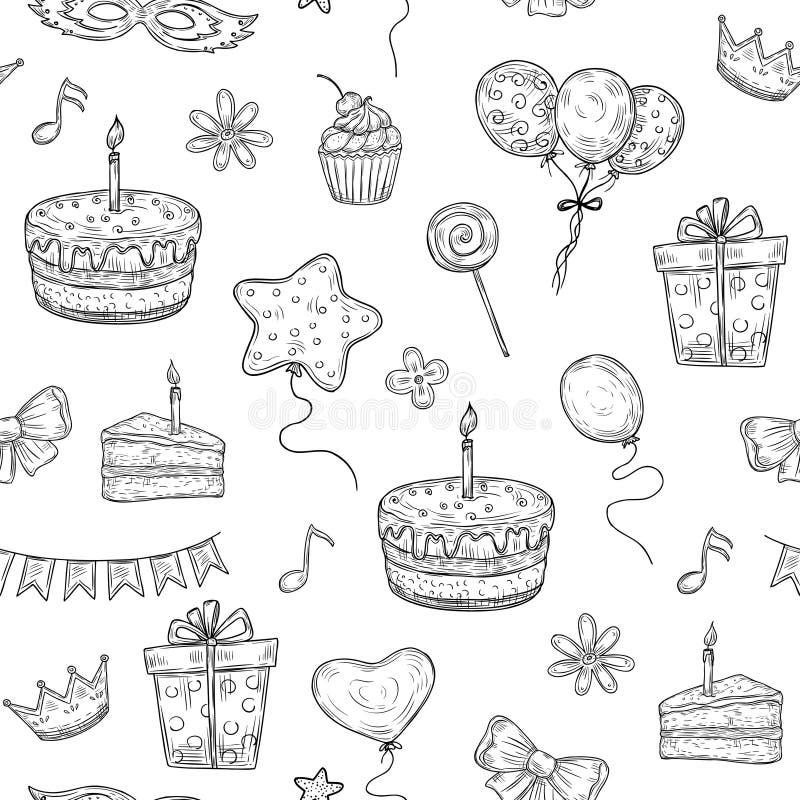 Wszystkiego Najlepszego Z Okazji Urodzin Bezszwowy wz?r Urodzinowy przyjęcie rysujący świętowanie torta balonu świeczki dzieciakó royalty ilustracja