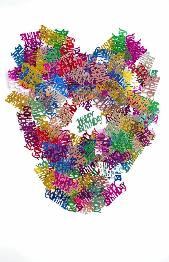 Wszystkiego Najlepszego Z Okazji Urodzin confetti w formie serca pojedynczy bia?e t?o obrazy stock