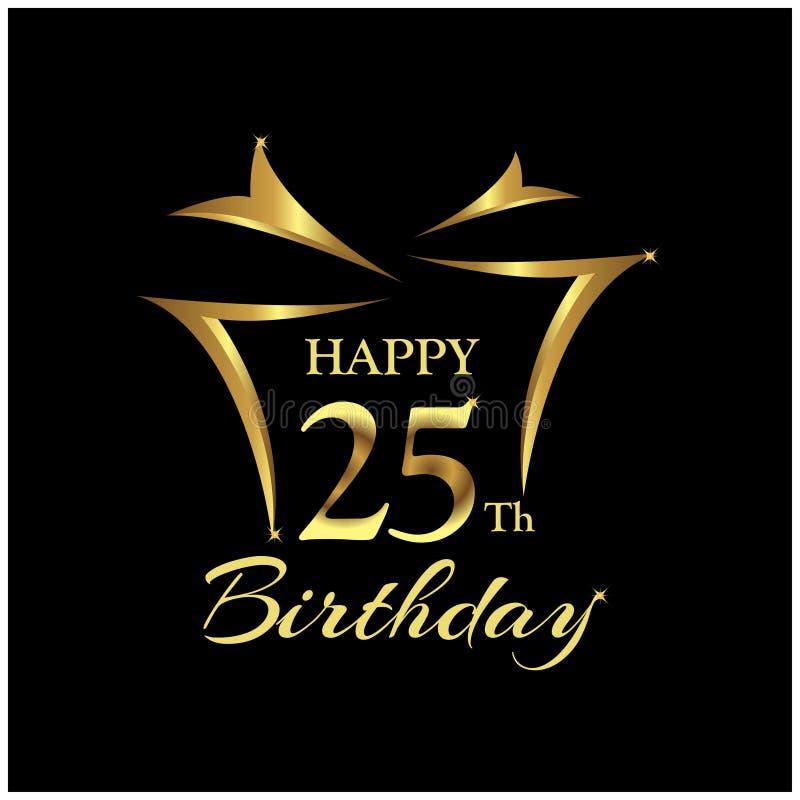 Wszystkiego Najlepszego Z Okazji Urodzin dwadzieścia pięć rok Elegancki projekt z liczbą royalty ilustracja