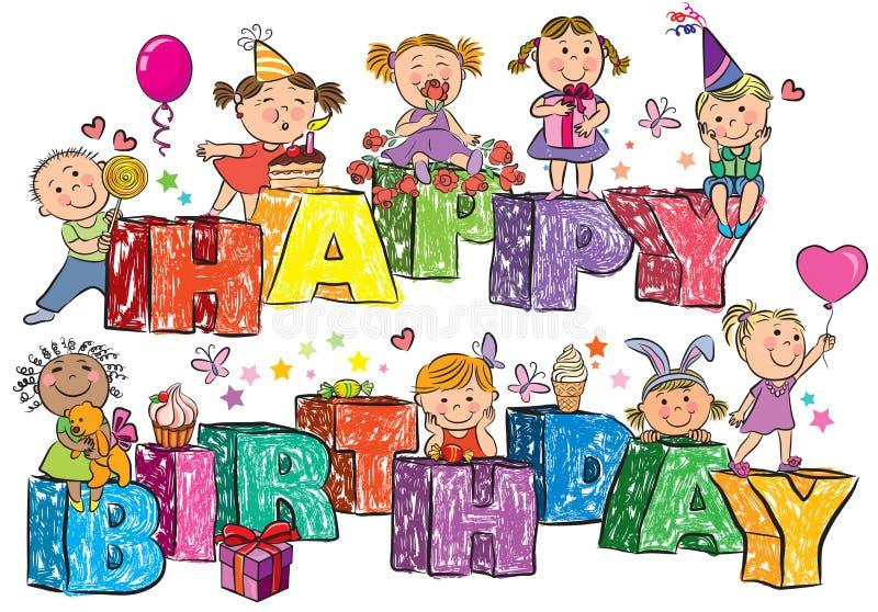 Wszystkiego Najlepszego Z Okazji Urodzin dzieciaki na listach ilustracji
