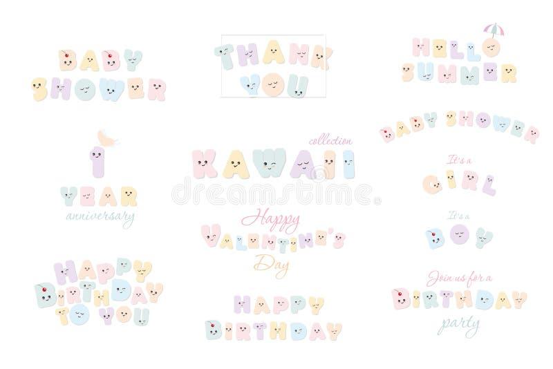 Wszystkiego najlepszego z okazji urodzin, dziecko prysznic, cześć lato, walentynki s dzień Kawaii papieru wycinanki listy Świątec ilustracji