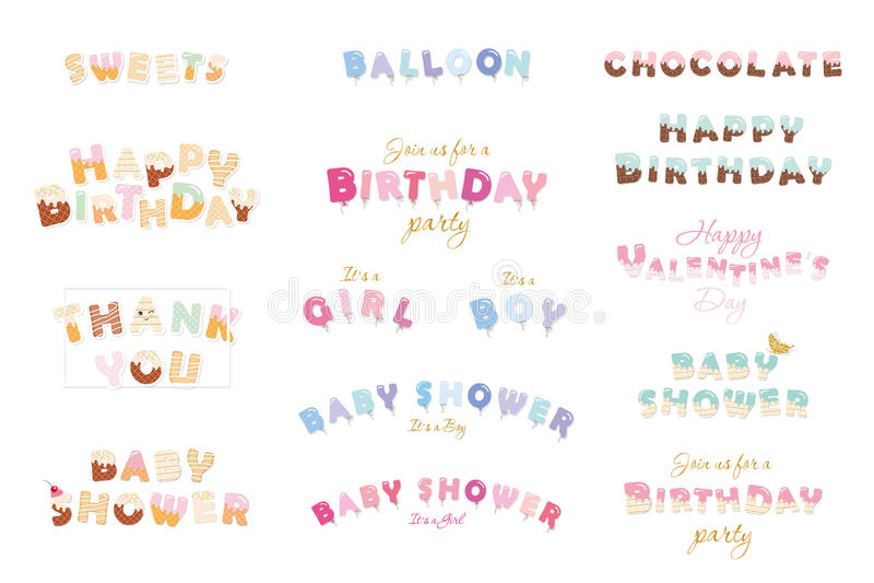 Wszystkiego najlepszego z okazji urodzin, dziecko prysznic, walentynki s dzień Cukierki, balon, czekolada listy Świątecznych insk royalty ilustracja