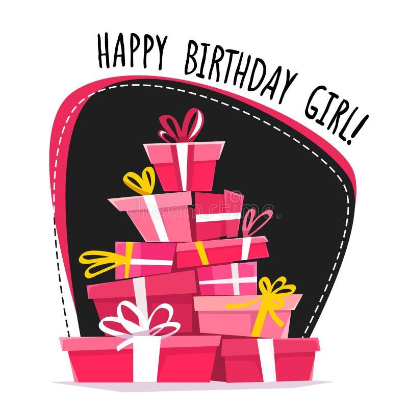 Wszystkiego najlepszego z okazji urodzin dziewczyny znaka przyjęcia karty zaproszenia daty szablon, kaligrafii ręka rysujący lite royalty ilustracja