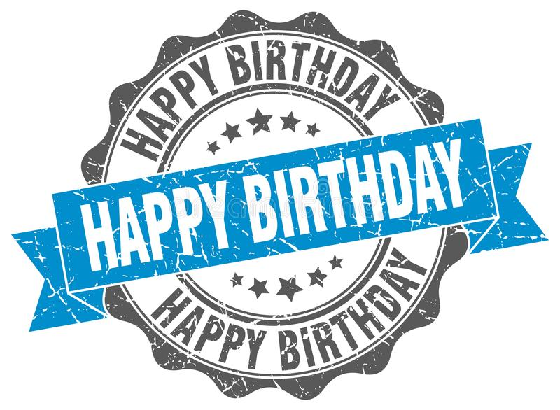 Wszystkiego najlepszego z okazji urodzin foka znaczek ilustracja wektor