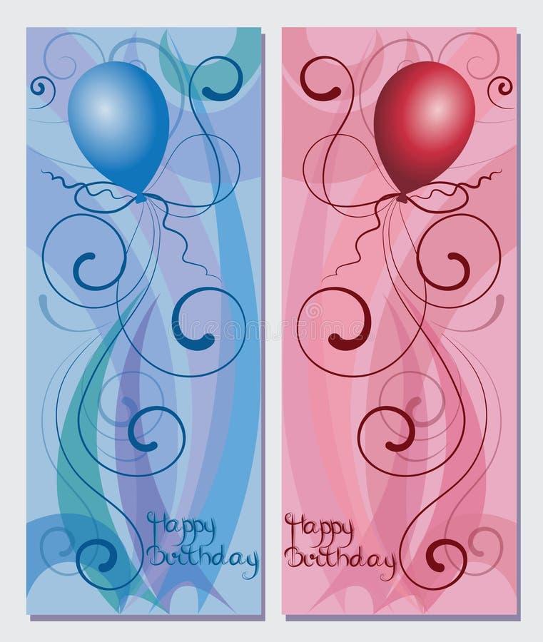 Wszystkiego najlepszego z okazji urodzin i balon royalty ilustracja