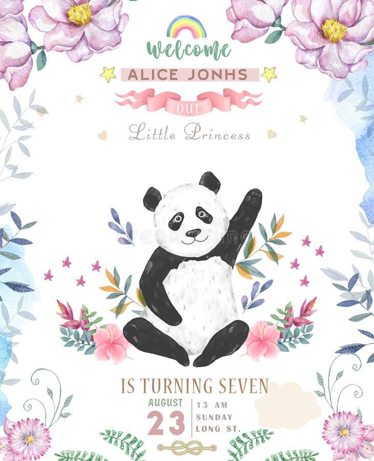Wszystkiego Najlepszego Z Okazji Urodzin karciany projekt z ślicznymi kwiatami i kwiecistymi bukietami ilustracyjnymi pandy boho  ilustracja wektor
