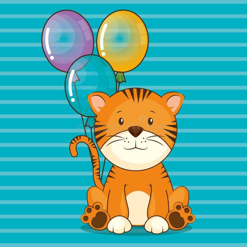 Wszystkiego najlepszego z okazji urodzin karta z ślicznym tygrysem royalty ilustracja