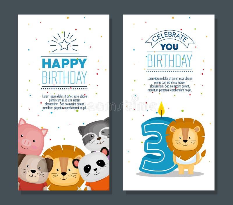 Wszystkiego najlepszego z okazji urodzin karta z ślicznymi zwierzętami royalty ilustracja