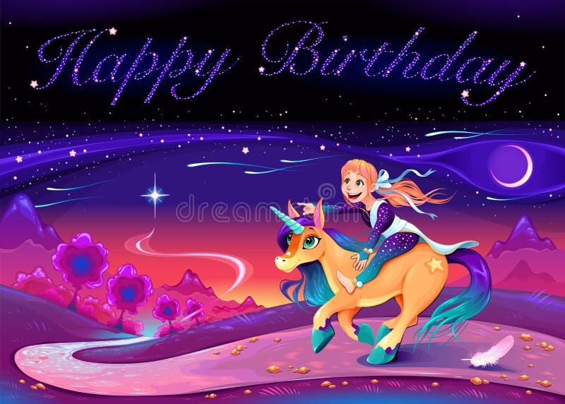 Wszystkiego Najlepszego Z Okazji Urodzin karta z dziewczyną jedzie jednorożec royalty ilustracja