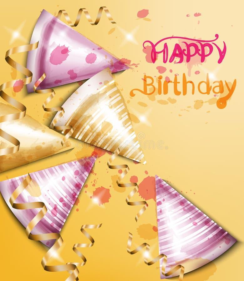 Wszystkiego najlepszego z okazji urodzin karta z partyjną kapeluszu wektoru akwarelą Zaproszenie szablony ilustracja wektor