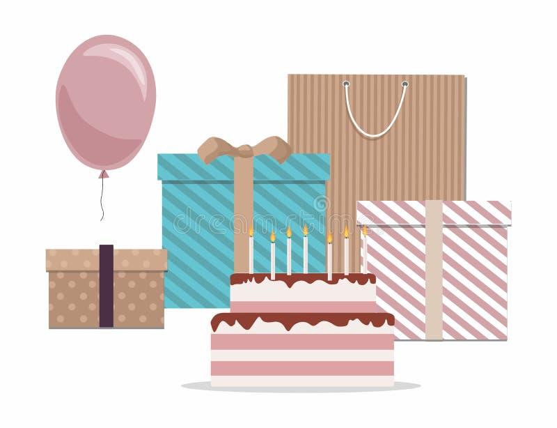 Wszystkiego najlepszego z okazji urodzin karta z tortem, prezentami i balonami Odizolowywającymi na Białym tle, royalty ilustracja