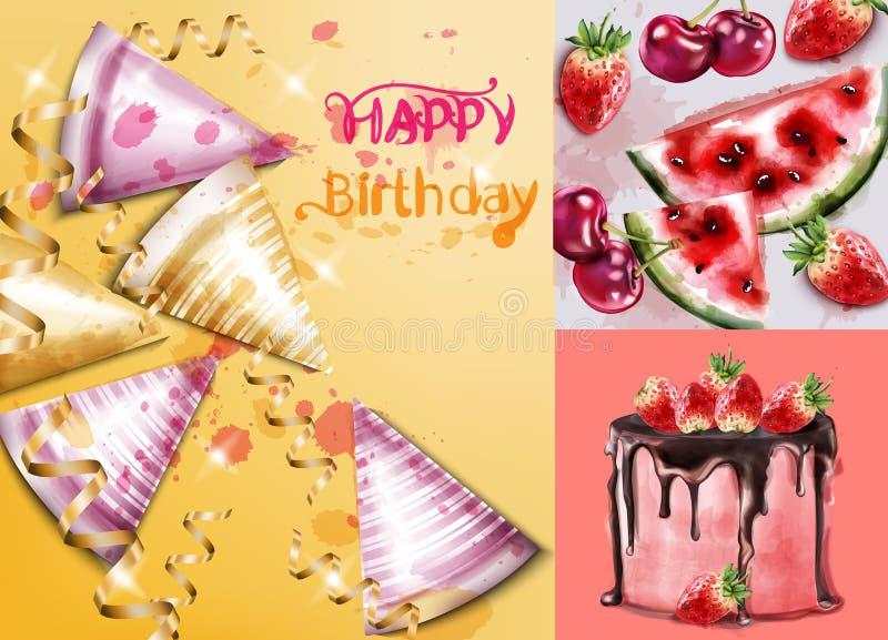 Wszystkiego najlepszego z okazji urodzin karta z tortową i urodzinową kapeluszu wektoru akwarelą Zaproszenie szablony ilustracji