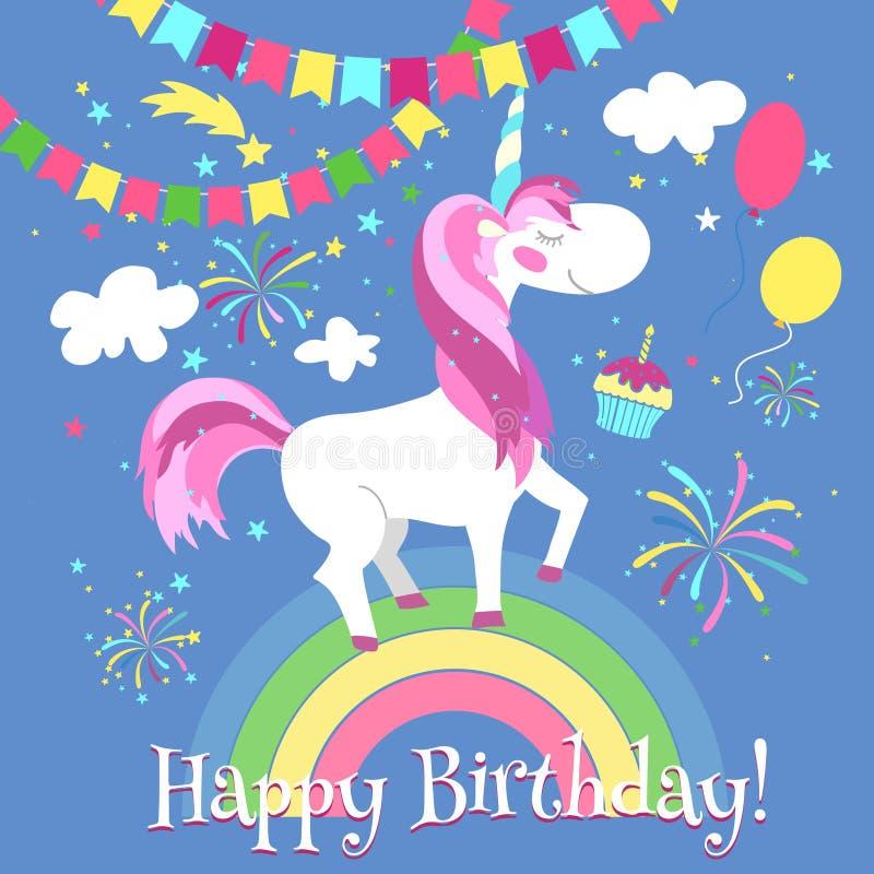 Wszystkiego najlepszego z okazji urodzin karta z śliczną jednorożec rabatowy bobek opuszczać dębowego faborków szablonu wektor ilustracji