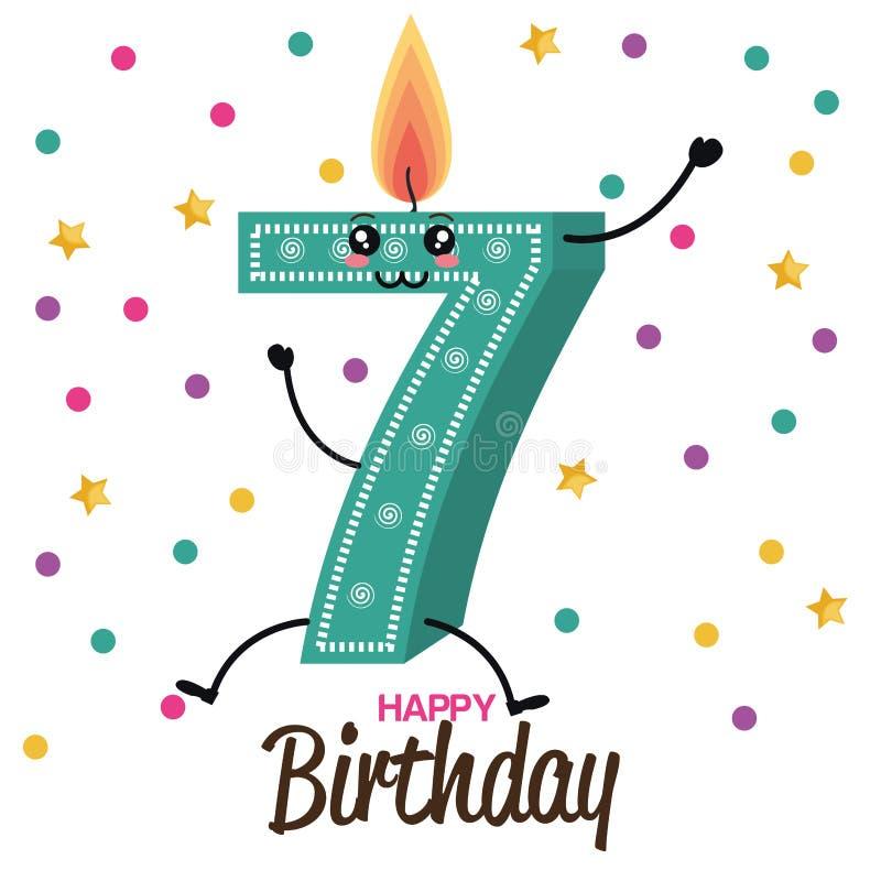 Wszystkiego najlepszego z okazji urodzin karta z świeczki liczbą ilustracji